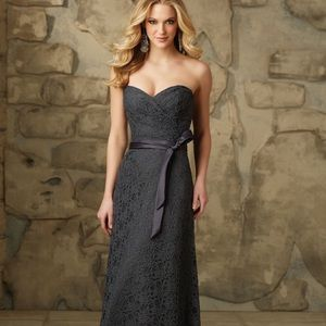 bebebbdcf0b9 Mori Lee One Shoulder Chiffon Dress. $54 $0. Charcoal lace bridesmaid /  formal dress